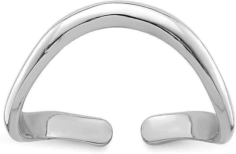 Solid 14k White Gold Toe Ring Adjustable