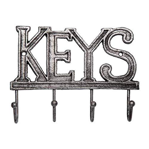 Comfify - Soporte para llaves - Gancho para llaves de pared - percha de ropa de hierro fundido rústico occidental para llaves - Estante organizador de llaves con 4 ganchos - con tornillos y anclajes - 15,2 x 20,3 cm