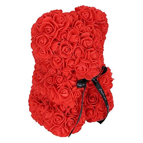 Flores artificiales, caja de regalo con decoración de oso de flor rosa ecológica Porcelana de alta calidad para aniversario para cumpleaños para boda para el día de San Valentín