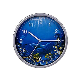 Wall Clock Silver, 8 Inches Silent Non-Ticking Quartz, Ocean Theme Wall Decor with Dolphins, Battery Operated Round Clock for Kids Room/Living Room/Office/Kitchen/Classroom, Easy to Read