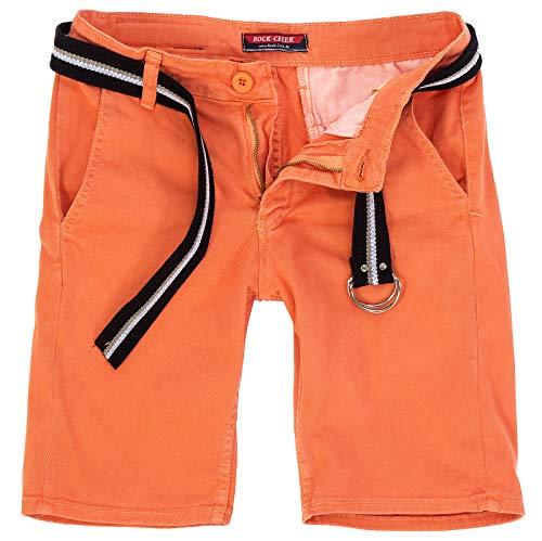 Rock Creek Herren Chino Shorts Hose Kurz Chinoshorts Inkl Gürtel Männer Sommer Bermuda Stretch Rc-2133 33 Coral