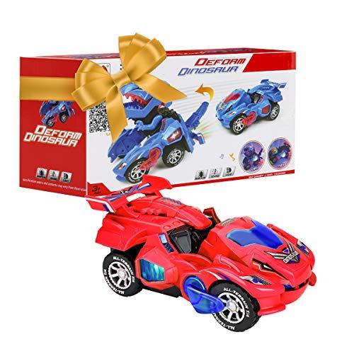 CestMall Transformer Dinosaurier Auto, Deformation Auto Spielzeug,Auto des Umwandelnden Dinosauriers LED Mit Hellem Ton Scherzt Spielzeug-Geschenk,Kreatives Weihnachtsspielzeug-Geschenk FüR Kinder 3+