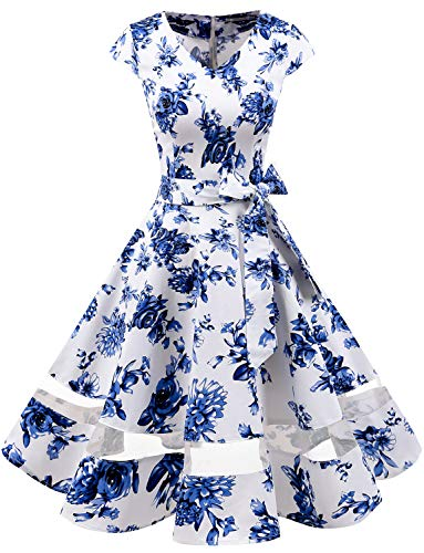 Gardenwed 1950er Vintage Retro Rockabilly Kleider Petticoat Faltenrock Cocktail Festliche Kleider Cap Sleeves Abendkleid Hochzeitkleid Blue...