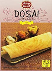 Dosai is a south indian crepe-like pancake usually eaten with either potatoes, sambar (lentil based soup), or chutney This easy to use mix is perfect for making dosai! Tastes delicious and authentic - recipe on package Product of india