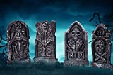 Sizonjoy Pack of 4 Foam Grave Tombstones for Halloween Decorations,17' Lightweight RIP Grave Stone Decor-Perfect for Outdoor Party/Haunted House/Yard Decorations