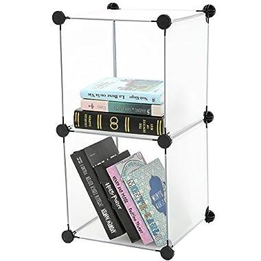 C&AHOME - DIY Bookcase Storage Organizer, Clothes Cabinet Cube of 2, Translucent
