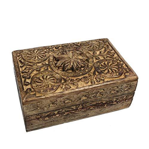 Medium Leaf Secret Lock Box - Hand Carved Wood/Wooden Storage Box