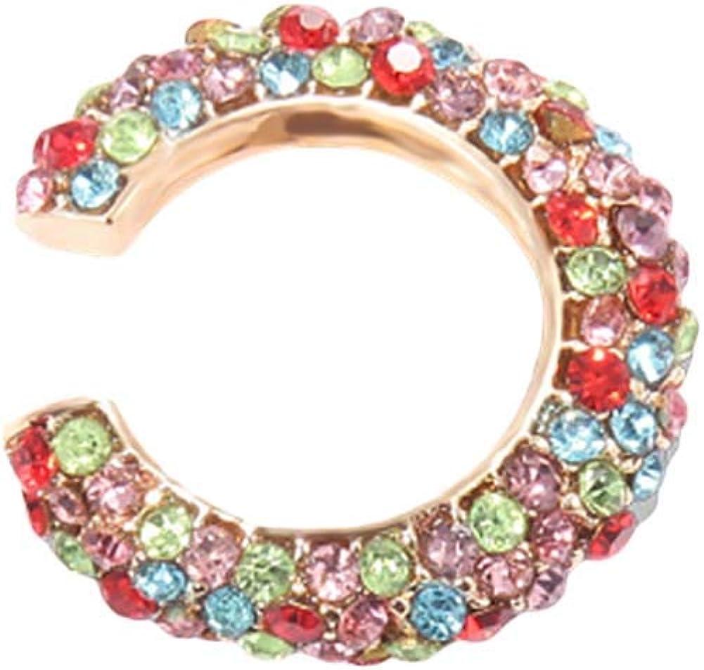 Earrings For Girls Women,1Pc Lady Rhinestone C Shape Ear Cuff Clip Earring No Piercing Cartilage Jewelry - Champagne