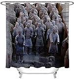 lxwrnv Statue Terracotta Duschvorhang Wasserdicht Duschvorhang Set Grau Duschvorhang 3D Duschvorhang Extra Lange Duschvorhang Blackout Screen Duschvorhang-72x78inch