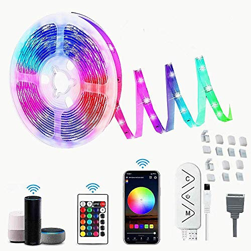 Striscia LED WiFi 6M / 19.6Ft RGB Sincronizzazione musicale Musica controllata da APP per smartphone, Funziona con l'Assistente Google Alexa, Strisce LED per la decorazione domestica