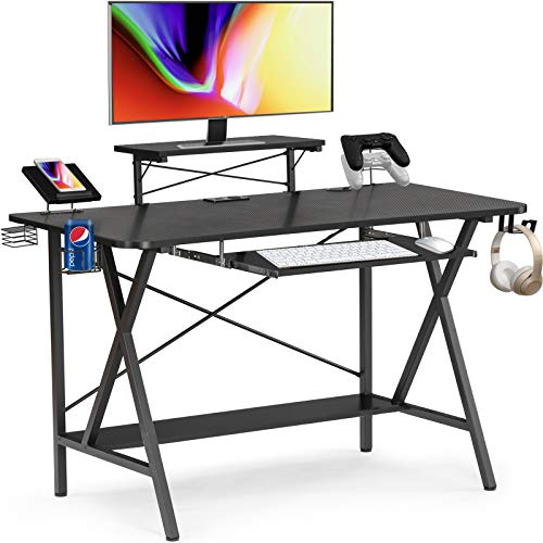 AUTSCA Gaming Desk 47 inch X Frame Shaped Computer Desk with Keyboard...