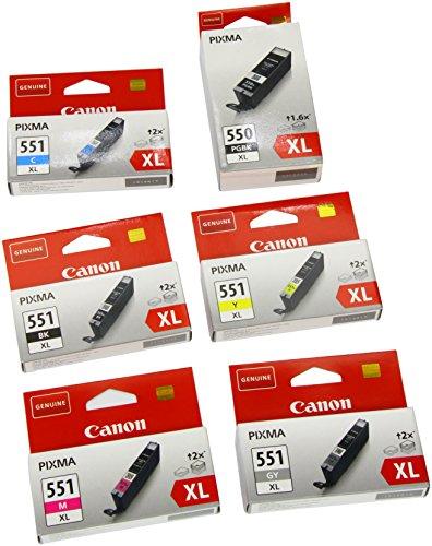 Canon - CLI - PGI550XL 551 xL Original Tintenpatronen, 6-er Set von 2 x schwarz, 3 x farbtinten, 1 x grau