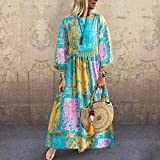 Vestido Largo Casual Mujer,Vestido Boho De Talla Grande Cuello Redondo Sundress De Manga Larga Patchwork Suelto Floral Elegante Azul Cielo Vestidos Bohemian Beach Maxi Falda Midi De Señora Para Uso