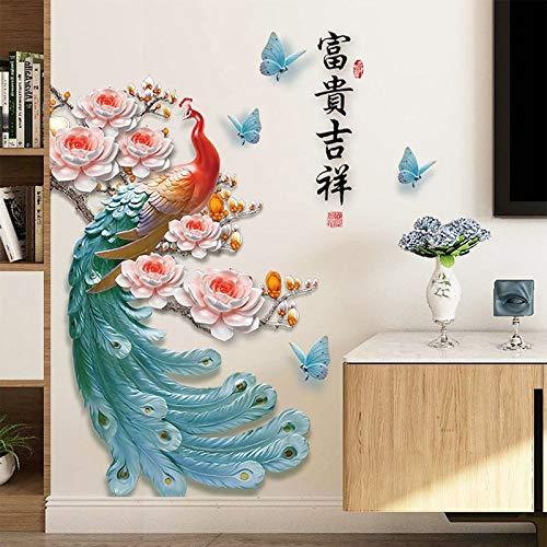 Pegatinas de pared de pavo real coloridas de estilo chino, decoración del hogar, calcomanías artísticas adesivo de parede, calcomanías de póster de vinilo DIY en 3D, decoración
