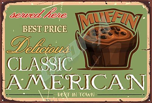 OSONA Utsökt klassisk amerikansk bästa pris service här choklad muffin retro nostalgisk traditionell rostfärg burk logga reklam slående väggdekoration gåva