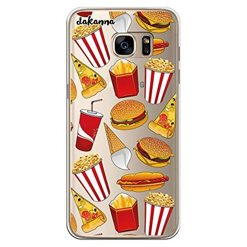 dakanna Funda para Samsung Galaxy S7 Edge | Hamburguesa, Refresco, Pizza y Palomitas | Carcasa de Gel Silicona Flexible | Fondo Transparente
