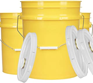 House Naturals 5 Gal Yellow Plastic Buckets Food Grade BPA Free Premium 90 mil pails with Gasket Lids - Pack of 3 - Made i...
