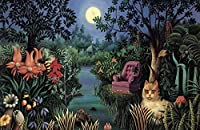 3000ピースのジグソーパズルジグソーパズル大人のジグソーパズルゲーム子供のための家族の減圧ゲーム-森の中の花と猫の動物の風景
