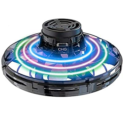 Abree Flying Toys for Adults & Kids USB Charging Hand Operated Mini UFO Drone Spinner with 360° Rotating and Shinning RGB LED Lights (black)