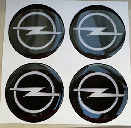 opel 50 mm nero tuning effetto 3d 3m resinato coprimozzi borchie caps adesivi stickers per cerchi in lega x 4 pezzi