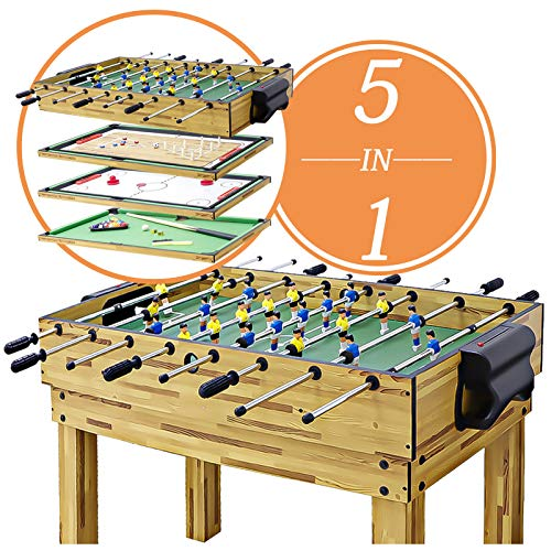 haxTON 1 Set of Popular Game Tables 3 in 1 /5 in 1 Multi-Use Game Table Compact Combination Game Tables Mini-Game Tables Foosball Table Air Hockey Table Pool Table Mini Table for Children Adult