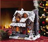 Snowy Smoking Chimney Lighted Log Cabin Christmas Snowman Incense Burner