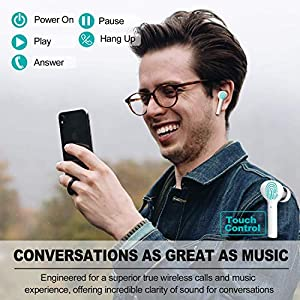 Latest Upgrade Bluetooth 5.0 True Wireless Earbuds with Charging Case Waterproof Earbuds 30 Hours Playtime TWS Stereo Headphones Built-in Mic Earbuds Premium Sound with Deep Bass for Sport,Running