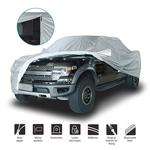 Shieldo Deluxe Truck Pickup Cover with Door Zipper Windproof Straps and Buckles 100% Waterproof All Season Weather-Proof Fit Long Bed Pickup Length Up to 226 Inches