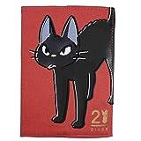 手帳 ウィークリー 月間スケジュール帳 マンスリー 週間ダイアリー 日本製 2021年 令和3年 A6 月曜始まり 10月始まり 魔女の宅急便 黒猫 ジジ 刺繍 スタジオジブリ 手帖