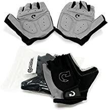 GEARONIC Cycling Bike Bicycle Motorcycle Glove Shockproof Foam Padded Outdoor Workout Sports Half Finger Short Gloves - Gray XL