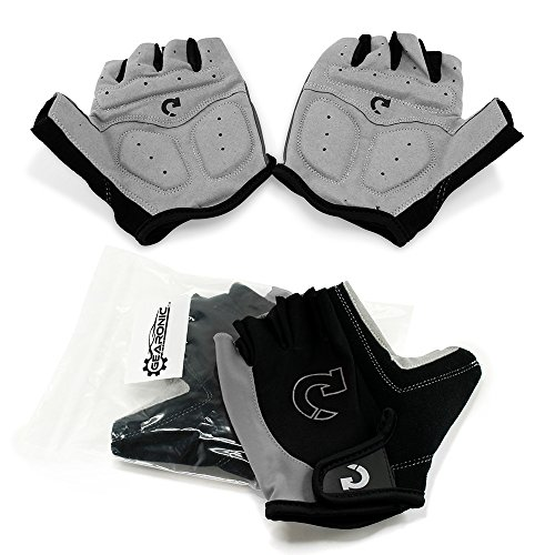 GEARONIC Cycling Bike Bicycle Motorcycle Glove Shockproof Foam Padded Outdoor Workout Sports Half Finger Short Gloves - Gray