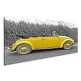 Bild auf Leinwand Gelber VW Käfer Beetle Bilder Wandbild