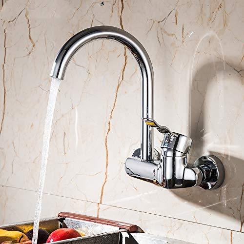 BFLO kraan hoogwaardige wandmontage dubbele gaten keukenkraan enkel handvat chroom keukenmengkranen dubbele gaten kraan