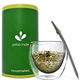 Novomates Mate Cup and Bombilla Set for Mate Tea - Double Wall Glass Yerba Mate Cup with Bombilla Mate Straw– Yerba Mate Gourd, Bombilla Mate and Yerba Container- Mate Guampa and Bombilla Kit, 8.4oz