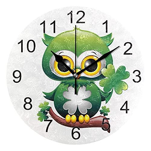 Gokruati Reloj de Pared silencioso,Reloj de Cocina,Relojes de Cuarzo silencioso Que no Hace tictac,para Sala de Estar,dormitorios,(Diámetro: 25 cm),Baby Owl Wall Día de San Patricio