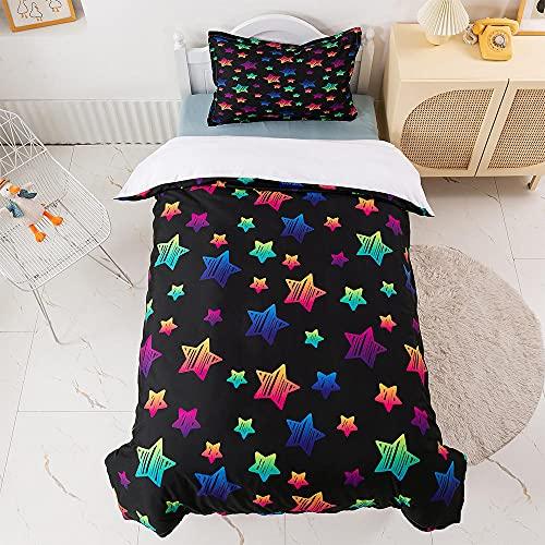 Qiuka Niños Funda Nórdica,260x240cm Negro Azul Rosa Estrellas Juego de Cama Niña y Niños Microfibra Funda de Edredón + Fundas de Almohada Y Cremallera Estampado con 3D
