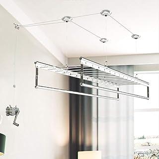 DRYING RACK SéChoir Mural Et Au Plafond SéChoir De 180cm SéChoir à Manivelle 4 Barres éTendoir à Linge Corde à Linge en Al...