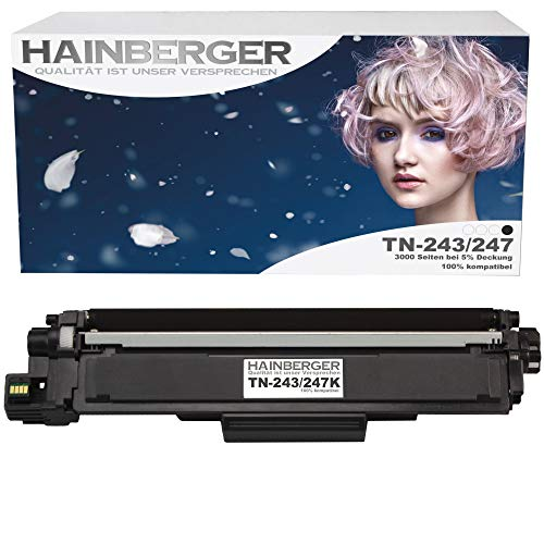 Hainberger - Tóner XL negro con chip compatible con Brother TN-243 TN-247 para Brother DCP-L3510CDW DCP-L3550CDW HL-L3210CW HL-L3230CDW HL-L3270CDW MFC-L3710CW MFC-L3730CDN MFC-L3750CDW MFC-L3770CDW