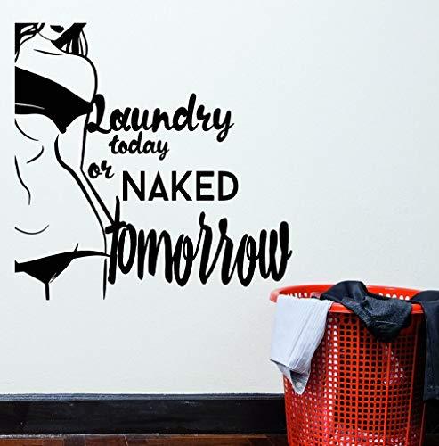Blrpbc Adhesivos Pared Pegatinas de Pared Palabras de PVC Cita Desnuda Chica Sexy lavandería Hoy habitación Impermeable Accesorios de baño calcomanías Mural 76x76cm