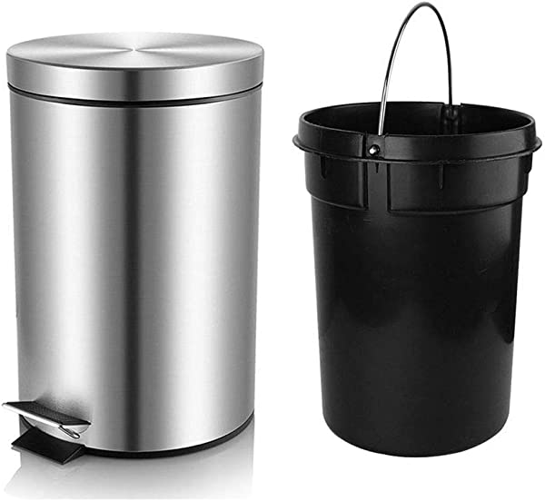 H LUX Bathroom Trash Can With Lid Soft Close Round Mini Trash Can With Removable Inner Wastebasket Anti Fingerprint Brushed Stainless Steel Trash Can 0 8Gal 3L