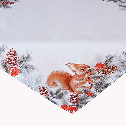 Kamaca Tischdecke Eichhörnchen mit Nuss hochwertiges Druck-Motiv Eyecatcher Herbst Winter (85x85 cm Mitteldecke)