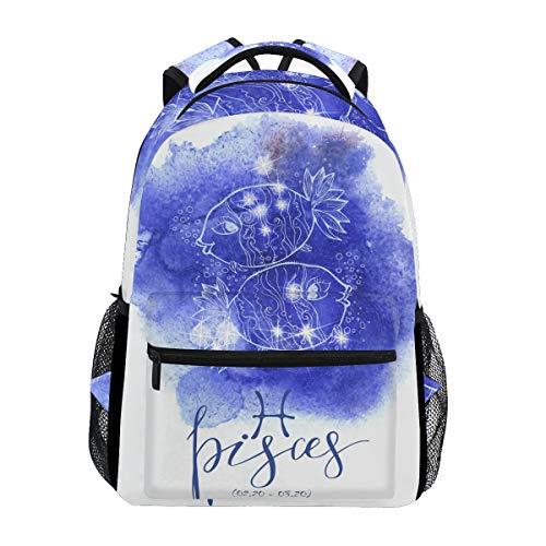 Jeansame Rucksack, Schultasche, Laptop, Reisetasche für Kinder, Jungen, Mädchen, Damen, Herren, Astrologie, Sterne, Sternbild, Fische