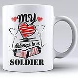 N\A Mi corazón Pertenece a un Soldado, Tazas de café de cerámica Blanca,...