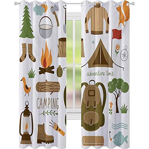 Cortinas opacas con aislamiento térmico, equipo de camping, saco de dormir, botas...