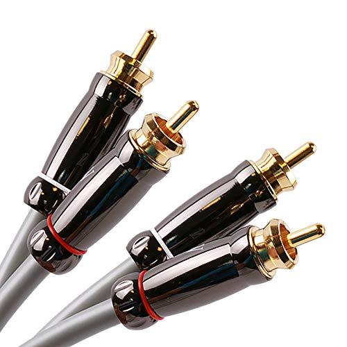 SKW Audiophiles Cable de Audio RCA 2RCA machos a 2RCA machos Sistema de Alta fidelidad con diámetro de 7 mm (0.5M, PVC)