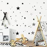 Wandtattoo-Loft Wandtattoo Deko Sterne 75 Aufkleber im Set (3farbig) Farbe: schwarz, grau und hellgrau/Junge/Wandsticker/Wandaufkleber/Wanddeko