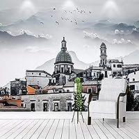 3D壁紙ヨーロピアンスタイルの建物教会風景写真壁画リビングルームテレビソファ寝室背景壁画フレスコ画,200(W)×140(H)Cm