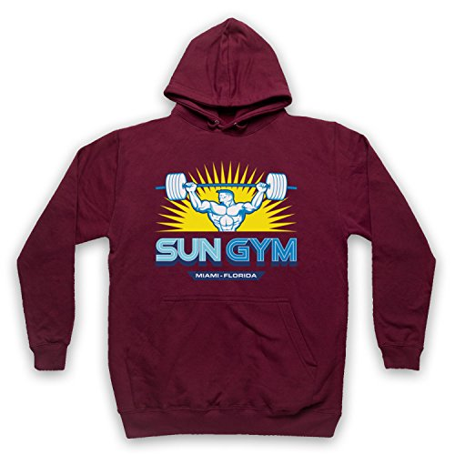 My Icon Art & Clothing Pain Gain Sun Gym Bodybuilding Logo Film Erwachsenen Kapuzensweater, Burgund, Large