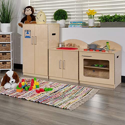 Flash Furniture Children's Wooden Kitchen Set - Stove, Sink and Refrigerator for Commercial or Home Use - Safe, Kid Friendly Design
