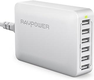 RAVPower [Versione Elevata Caricatore da Muro da 60W con 6 Porte USB Stazione di Ricarica (Ricarica iSmart, Compatibilità ...